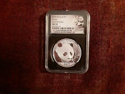 2018 China S 10Y Panda Early Releases MS70 NGC 30g .999 Silver