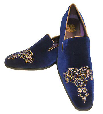 AM 6823 Mens High End Velvet Dress Loafers Shoes Bright Blue with Gold Detail