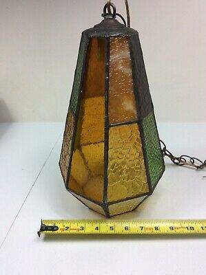 "Antique Multi-Color Stained Leaded Glass Porch Foyer Ceiling Light 9"" X 14"""