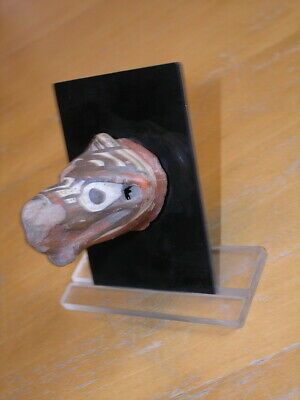 Ancient Pre Columbian Jalisco Pottery Beast Head Polychrome Fragment Mounted