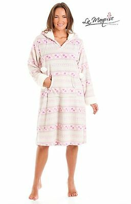 Ladies Warm Super Soft Hooded Fleece Lounger/Poncho/Kaftan/Gown La Marquise