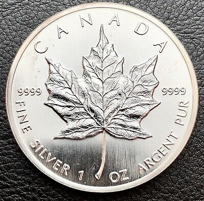 1988 $5 Canadian Maple Leaf 1 Troy oz .9999 Fine Silver Coin (E001)