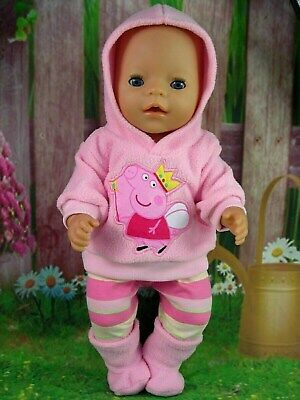 "Dolls clothes for 17"" Baby Born doll~PINK PEPPA PIG HOODIE/LEGGINGS/BOOTS"