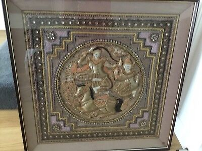 VINTAGE COLLECTIBLE BURMESE KALAGA framed  WALL HANGING