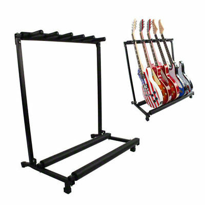 5 GUITAR STAND - MULTIPLE Five INSTRUMENT Display Rack Folding Padded Organizer