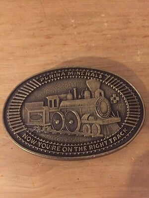 VINTAGE 1970s Purina Minerals PURINA FEEDS BELT BUCKLE Train Right Track