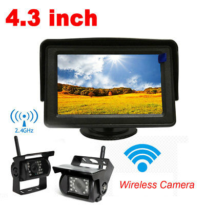 """Wireless IR Rear View Backup Camera Night Vision + 4.3"""" Monitor For RV Truck Bus"""