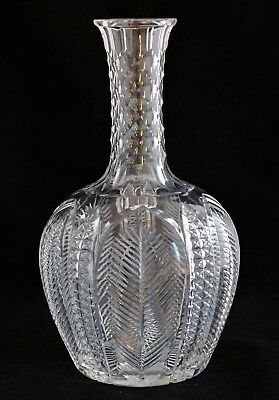 Antique American Brilliant Cut Glass Crystal Abp Carafe Feather And Diamond Cut