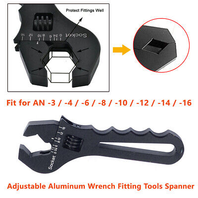 1X Adjustable Wrench AN3-AN16 Oil Feul Hose Fitting BLACK  Aluminum Tool Spanner