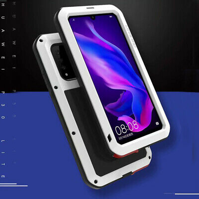 Waterproof Shockproof Metal Aluminum Gorilla Glass Case Cover For Huawei P30Lite