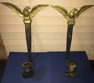 Vintage Cast Iron & Brass WILSON Federal Eagle Candle Wall Mount Sconce Pair