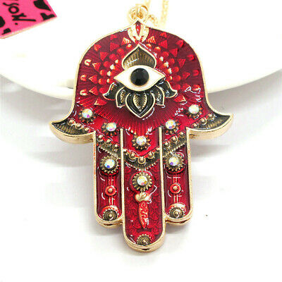 Red Rhinestone Magic Ancient Egypt Eyes Palm Betsey Johnson Pendant Necklace
