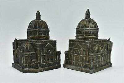 Antique CAST METAL LARGE DOMED CAPITOL BUILDING BOOKENDS BRONZE PAINTED #06981