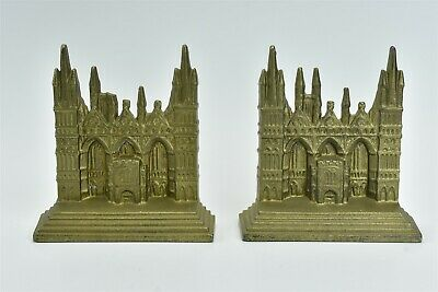 Antique 1928 CAST IRON PETERBOROUGH CATHEDRAL BOOKENDS CONNECTICUT FOUNDRY 06980