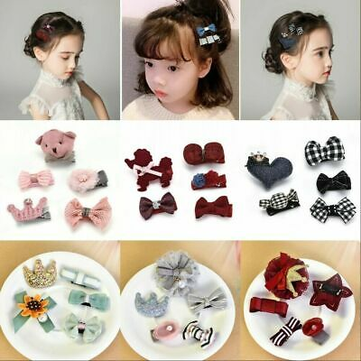 5Pcs Kids Baby Girl Hair Clips Bowknot Heart Crown Headwear Hairpins Accessories