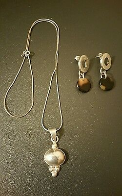 Sterling Silver Mexico Pendant Taxco Earrings Vintage 925