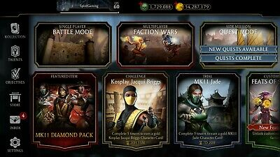 MORTAL KOMBAT MOBILE Account 1 5M Souls + All MKX Characters (Android / iOS)