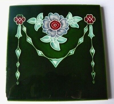 Antique Majolica Art Nouveau Green Tile Stylised Lilac & Red Flowers & Swags