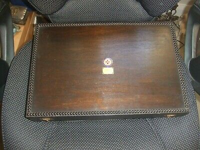 Vintage Empty  Beaded Wooden Oak Cutlery Canteen Box Dated 1931