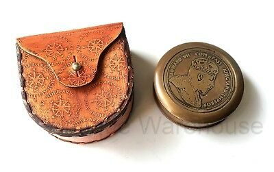 Nautical Antique Brass Working Compass With Leather Case Vintage Marine Gift