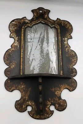 Antique Victorian Wall Mirror Mother of Pearl Inlay Wall Mirror c1870s LOOK
