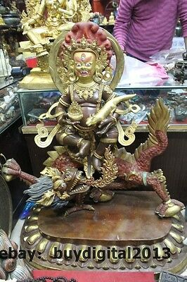 "43"" Tibet Buddhism Temple Bronze 24K Gold Seat Dragon White Jambhala Buddha"