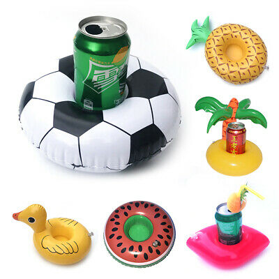 Inflatable Cup Holder Drink Coasters Swim Float Boats Pool Party Water Fun H7Yb