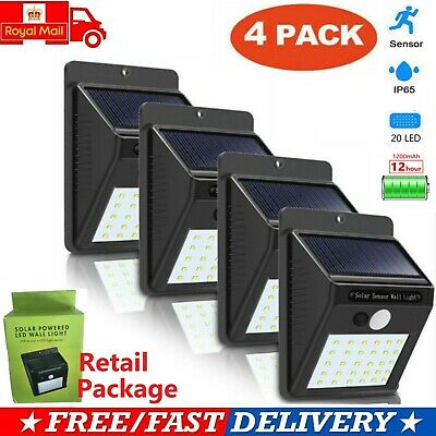 4X20LED Solar Powered PIR Motion Sensor Wall Security Light Outdoor Garden Lamp