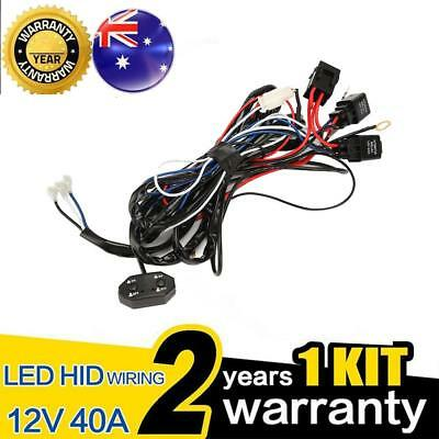 LED Wiring Loom Harness Kit One-To-One Universal Driving light Bar 12V 40A Relay