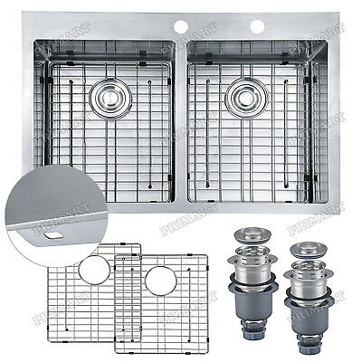 Primart 33 x 22 In 16 Ga Double Bowl Kitchen Sink Drop In Sink Stainless Steel