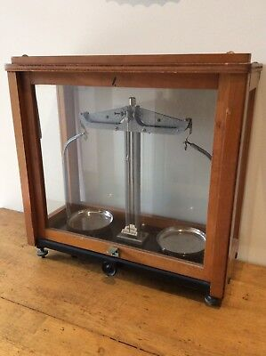 Antique Vintage ' Griffin & George' Scales In Timber & Glass Case