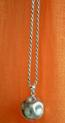 Ilias Lalaounis Sterling Silver Pendant & Chain Hand Hammered Sphere