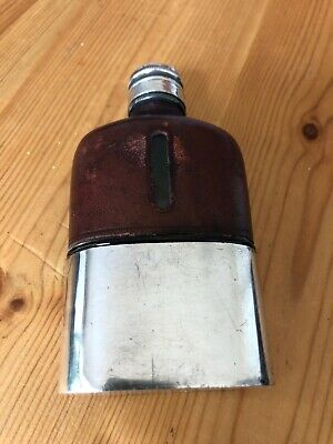 Rare Vintage hip flask Yates EP Crown - Leather, glass and silver plate