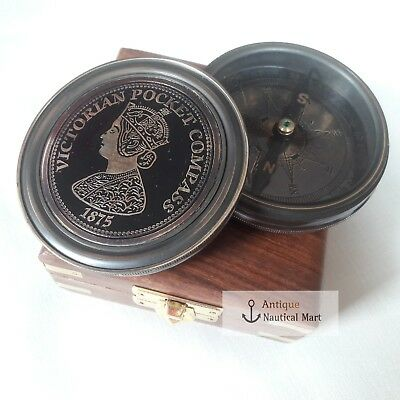 Antique Victorian Pocket Compass With Box Vintage Marine Collectible Item