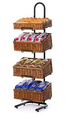 4 Tier Display Stand with Wicker Baskets