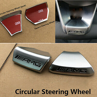 1x Steering Wheel with AMG Logo Emblem Sticker Badge Cover For Mercedes Benz-BEU