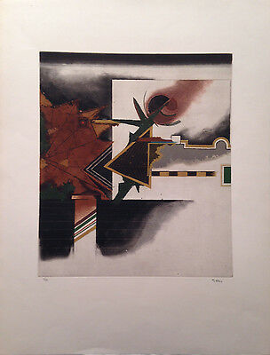 """Tuvia Beeri, Israeli Artist, """"Abstract in Green Brown and Black"""", Etching"""