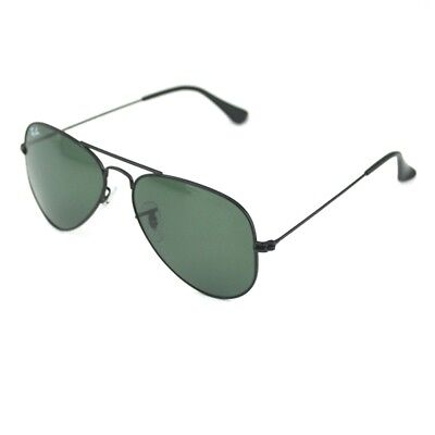 f291cfac31 New Ray Ban RB 3025 Aviator W3235 Black Frame Green Classic G-15 Glass 55mm