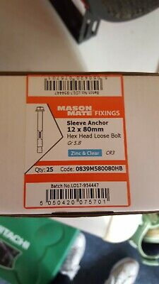 SLEEVE ANCHOR FIXING FOR MASONRY ZINC PLATED  M12 box of 25