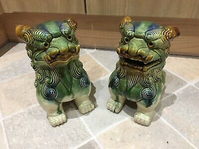 """Pair Of Vintage Ceramic Chinese FOO DOGS - Figures/Statues/Ornaments 10"""""""