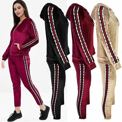 Womens Ladies Tracksuit Two Piece Stripe Studded Top Hoody Active Wear Teen Size