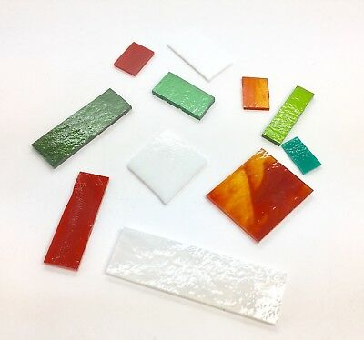 50g Bullseye Fusing Glass COE90 Christmas Red Green White Fused Craft Bundle
