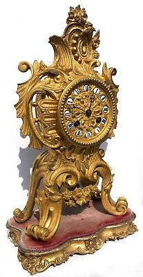 Antique French Gilt Bronze Rococo Ormolu Clock by Delettrez A Paris