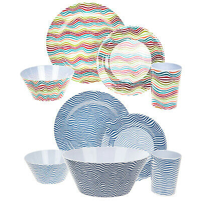Summit Melamine Dinner Set Plastic 16 Piece Camping Garden Cup Plate Salad Bowl