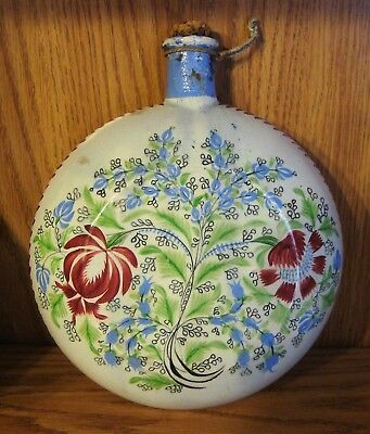 Antique English Pottery Spirit Flask Prattware Coloring Staffordshire Yorkshire