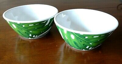 Tommy Bahama Tropical Palm Leaves Leaf Melamine Salad Soup Cereal Bowls Set of 2