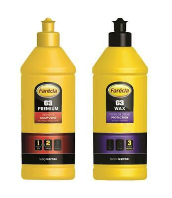Farecla 500g G3 Premium Abrasive Compound + 500ml G3 Wax Liquid Protection