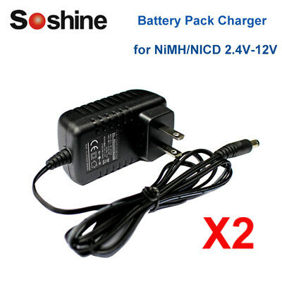 2pcs Universal 2.4V-12V Li-ion LED NiCd Battery Pack Charger Fast Battery Packs