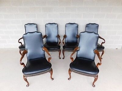 Hickory Chair Regency Style Mahogany Library Arm Chairs - a Set of 6