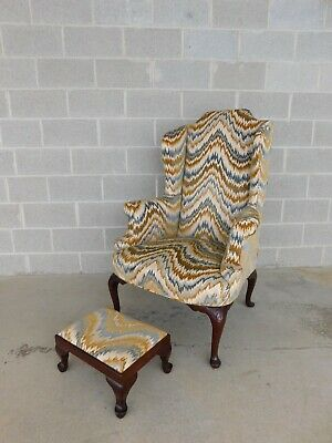 Vintage Chippendale Style Wing Back Chair & Foot Stool